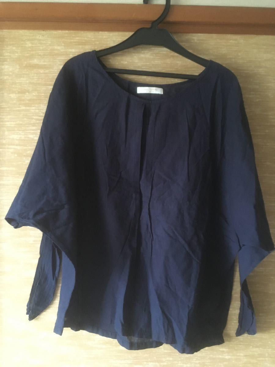 chocol raffine robe ネイビーシャツブラウス トップス