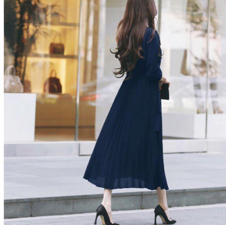 ロングワンピース プリーツ ワンピース 長袖 マキシ丈 シフォン ドレス スカート プリーツスカート ワンピ ベルト付き 選べるカラー