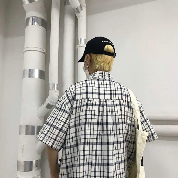 シャツ タイ 付き ビッグシルエット チェック トップス 半袖 アウター 韓国 トップス ストリート shirt 色選べます