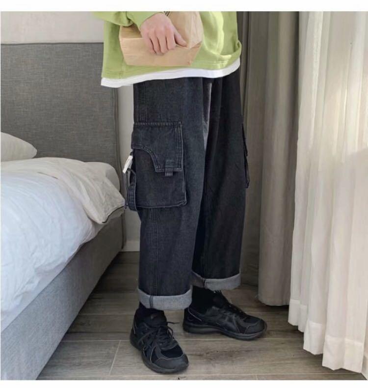 デニム ワイドパンツ ジーンズ ボトムス ストレートパンツ 韓国 ストリート パンツ インディゴ オルチャン ペインターパンツ デニムパンツ