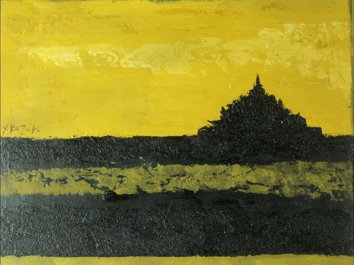 香月泰男 【Mont Saint-Michel】 肉筆油彩 モンサンミシェル不思議絵画 企業収蔵品 (1730) 7JF44