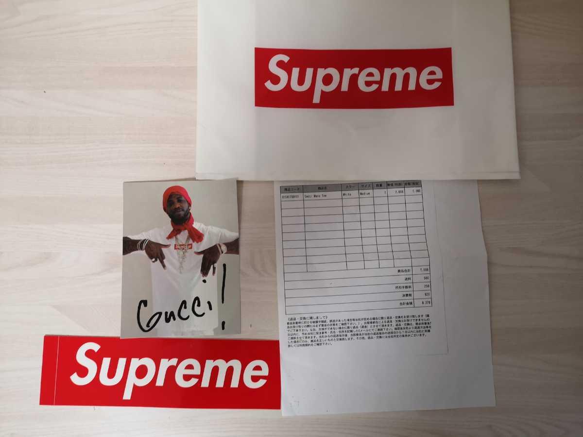 国内正規品 新品未使用 Supreme シュプリーム Gucci Mane Tee 16AW グッチ メイン Tシャツ M 白 WHITE ホワイト ステッカー付き motion _画像2