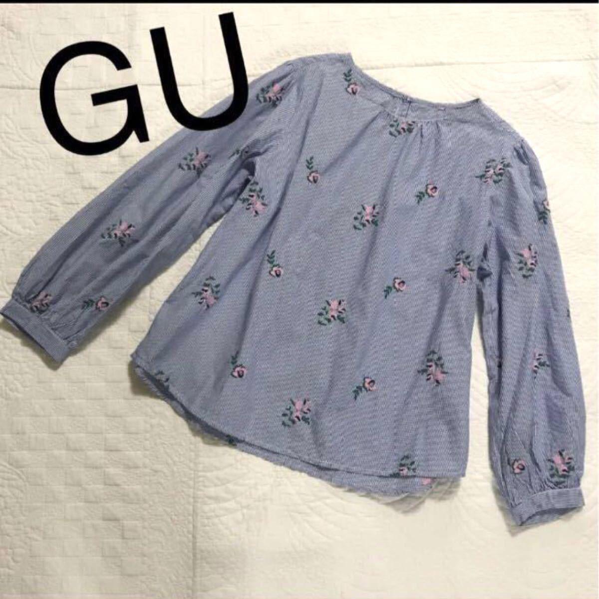 美品 GU ジーユー 花柄刺繍ストライプトップス ブラウス XL 2L L