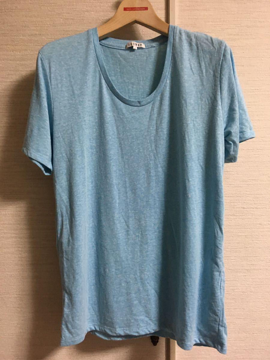 半袖Tシャツ 半袖カットソー ライトブルー メンズ Sサイズ Uネック