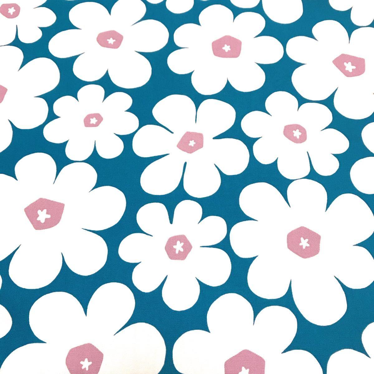 花柄 オックス生地 ブルーグリーン 【廃盤生地】