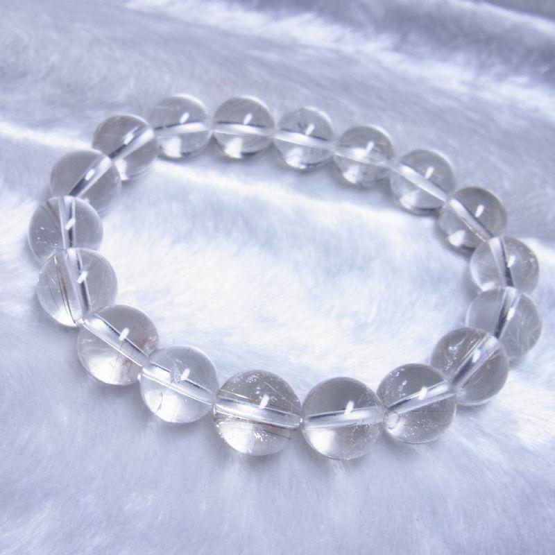 OSir28 一点物 シルバールチル ブレスレット 12ミリ 虹入銀針水晶 レインボー 天然石 数珠 開運招来 ギフト プレゼント_画像2