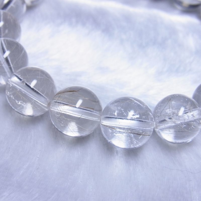 OSir28 一点物 シルバールチル ブレスレット 12ミリ 虹入銀針水晶 レインボー 天然石 数珠 開運招来 ギフト プレゼント_画像4