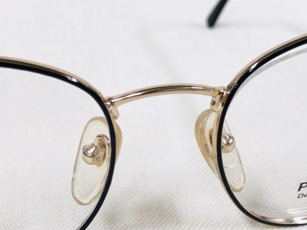 未使用 デッドストック PARADE 53□20 /ビンテージ ラウンド ボストン メガネ ブラック ゴールド /検 サングラス AO Y673_画像4