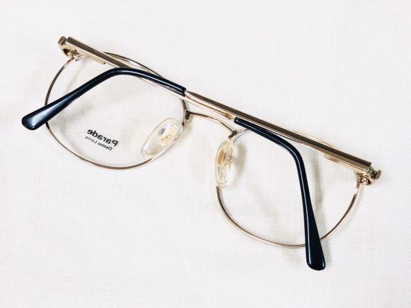 未使用 デッドストック PARADE 53□20 /ビンテージ ラウンド ボストン メガネ ブラック ゴールド /検 サングラス AO Y673_画像2