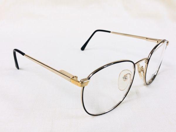 未使用 デッドストック PARADE 53□20 /ビンテージ ラウンド ボストン メガネ ブラック ゴールド /検 サングラス AO Y673_画像3