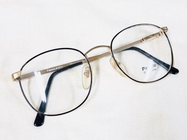 未使用 デッドストック PARADE 53□20 /ビンテージ ラウンド ボストン メガネ ブラック ゴールド /検 サングラス AO Y673_画像1