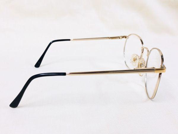 未使用 デッドストック PARADE 53□20 /ビンテージ ラウンド ボストン メガネ ブラック ゴールド /検 サングラス AO Y673_画像5