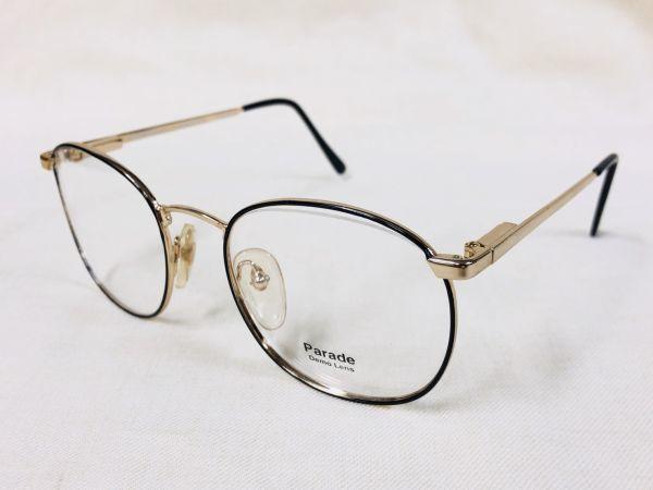 未使用 デッドストック PARADE 53□20 /ビンテージ ラウンド ボストン メガネ ブラック ゴールド /検 サングラス AO Y673_画像9