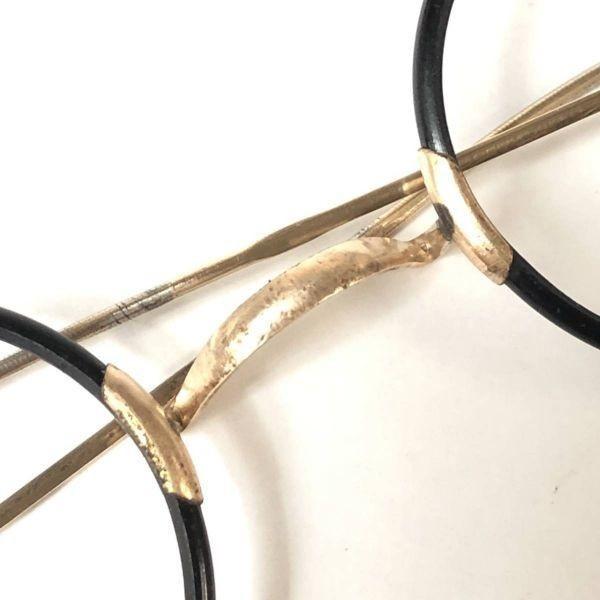 20's French vintage 40/26 black & gold color【フレンチ・ヴィンテージ 丸メガネ ラウンド ブラック ゴールドカラー】Y198_画像6