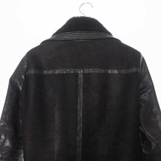 リックオウエンス Rick Owens ムートンライダース ジャケット ブルゾン カーフレザー 46 黒 ブラック RU9782 国内正規_画像4