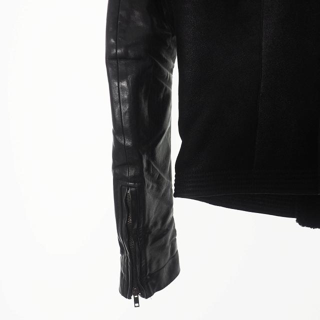 リックオウエンス Rick Owens ムートンライダース ジャケット ブルゾン カーフレザー 46 黒 ブラック RU9782 国内正規_画像6