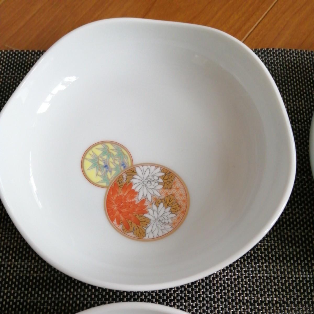 深川製磁 寿赤絵 皿 4枚