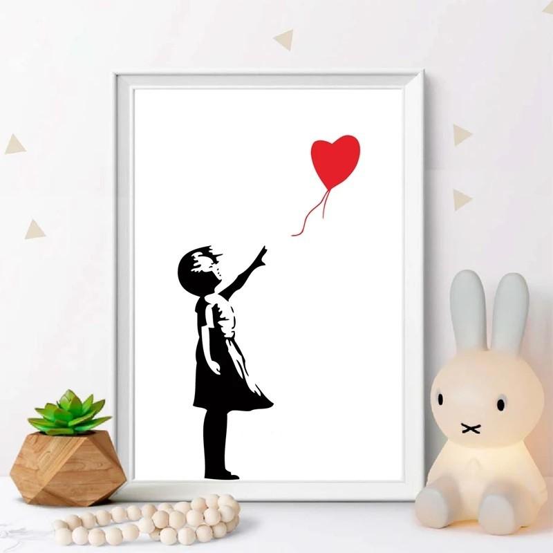 アートポスター 海外 ポスター 少女と風船0