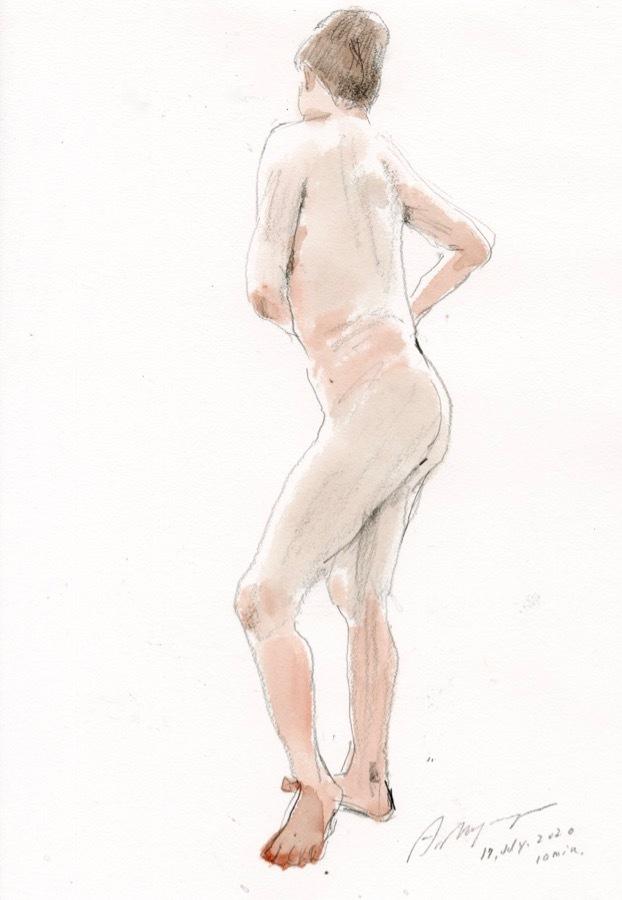 溝呂木陽 真作 水彩画 女性裸婦 ヌード素描作品 その5 2020年制作 B4サイズ 送料無料_画像8