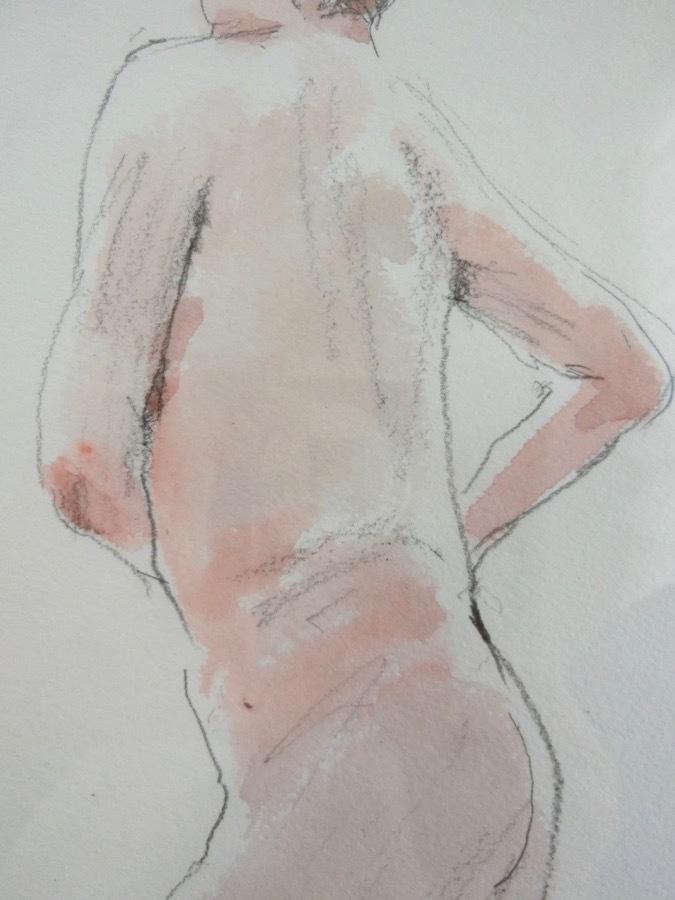 溝呂木陽 真作 水彩画 女性裸婦 ヌード素描作品 その5 2020年制作 B4サイズ 送料無料_画像3