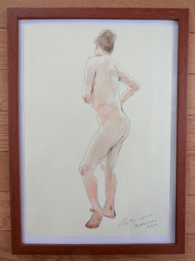 溝呂木陽 真作 水彩画 女性裸婦 ヌード素描作品 その5 2020年制作 B4サイズ 送料無料_画像1