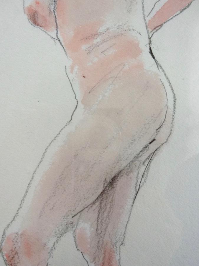 溝呂木陽 真作 水彩画 女性裸婦 ヌード素描作品 その5 2020年制作 B4サイズ 送料無料_画像4