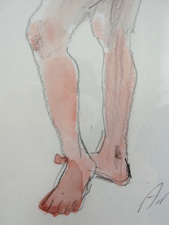 溝呂木陽 真作 水彩画 女性裸婦 ヌード素描作品 その5 2020年制作 B4サイズ 送料無料_画像5