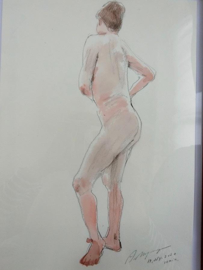 溝呂木陽 真作 水彩画 女性裸婦 ヌード素描作品 その5 2020年制作 B4サイズ 送料無料_画像7