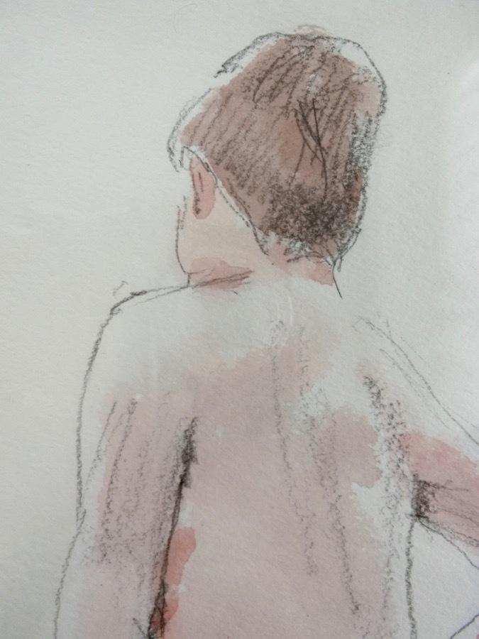 溝呂木陽 真作 水彩画 女性裸婦 ヌード素描作品 その5 2020年制作 B4サイズ 送料無料_画像2