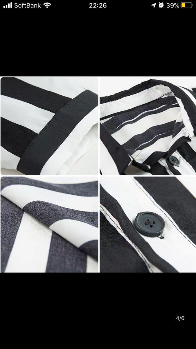 ユニセックス シャツ ビッグシルエット ストライプシャツ
