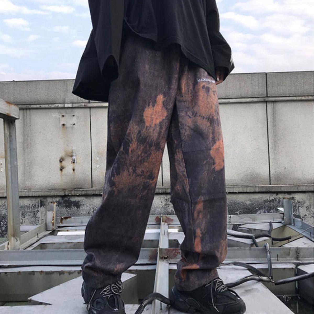 ユニセックス  ストリート オルチャン ペイント ワイドパンツ ブラック