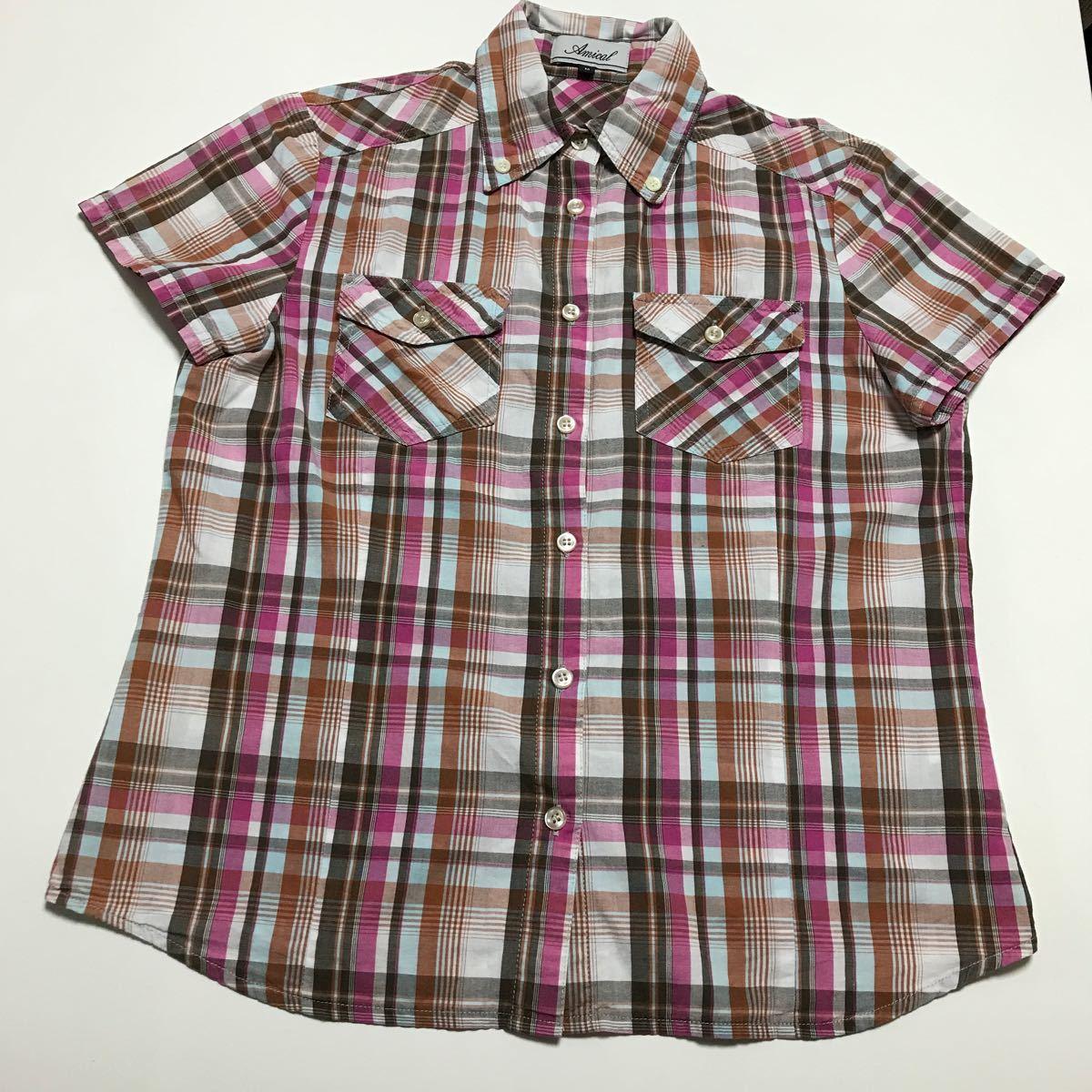 ピンク×茶系チェック柄綿100%半袖シャツです。