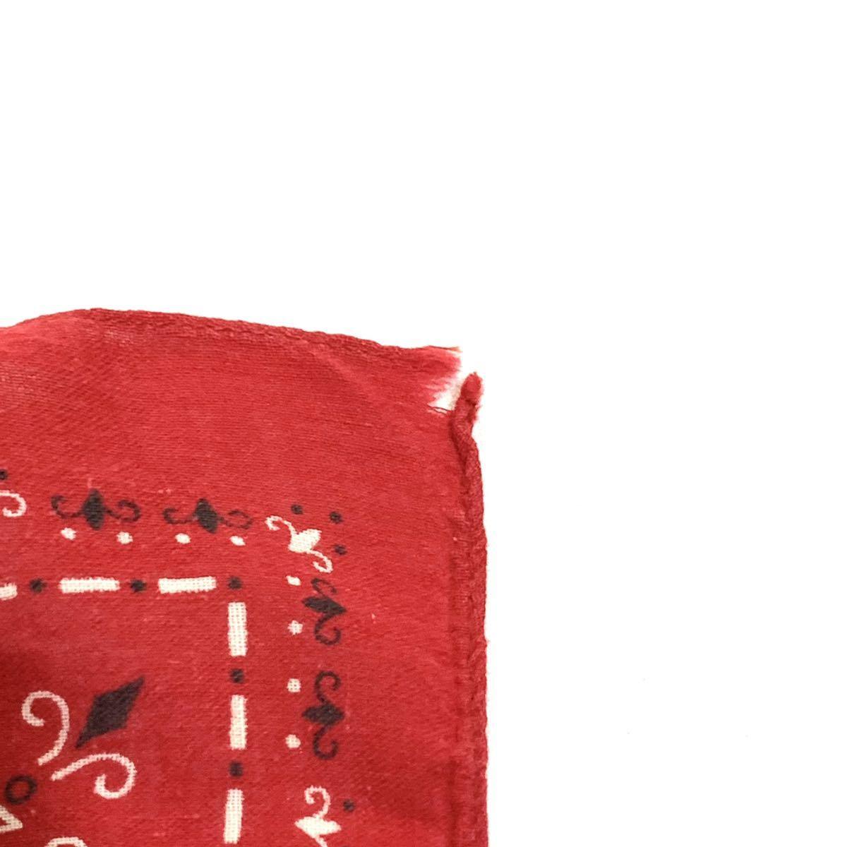 ■60s 60年代 FAST COLOR エレファントブランド 上鼻 幾何学模様 耳付き ビンテージ バンダナ 古着雑貨 小物 リメイク生地 ファブリック■_画像3