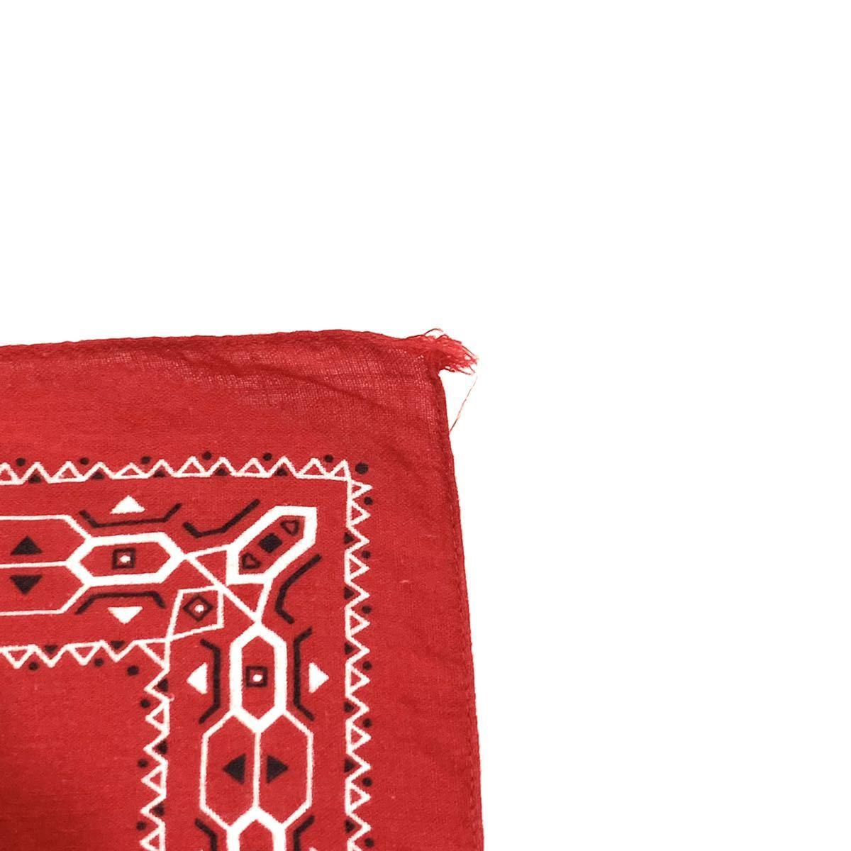 ■60s 60年代 FAST COLOR エレファントブランド 上鼻 幾何学模様 耳付き ビンテージ バンダナ 雑貨 小物 リメイク生地 ファブリック A■_画像4