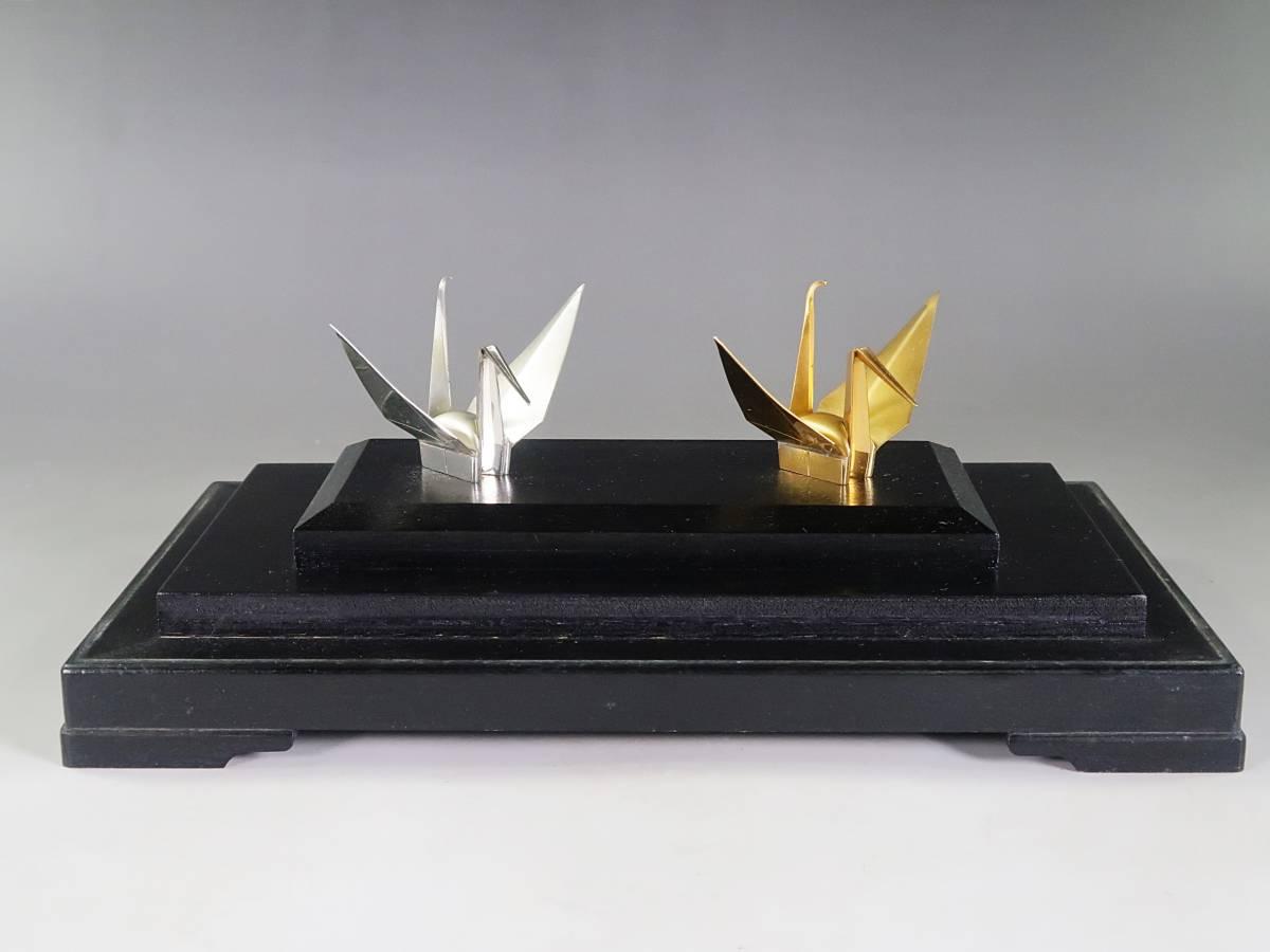 《玉》*A-60 池田造 銀製 夫婦折鶴 共箱 ガラスケース シルバー/銀製/置物