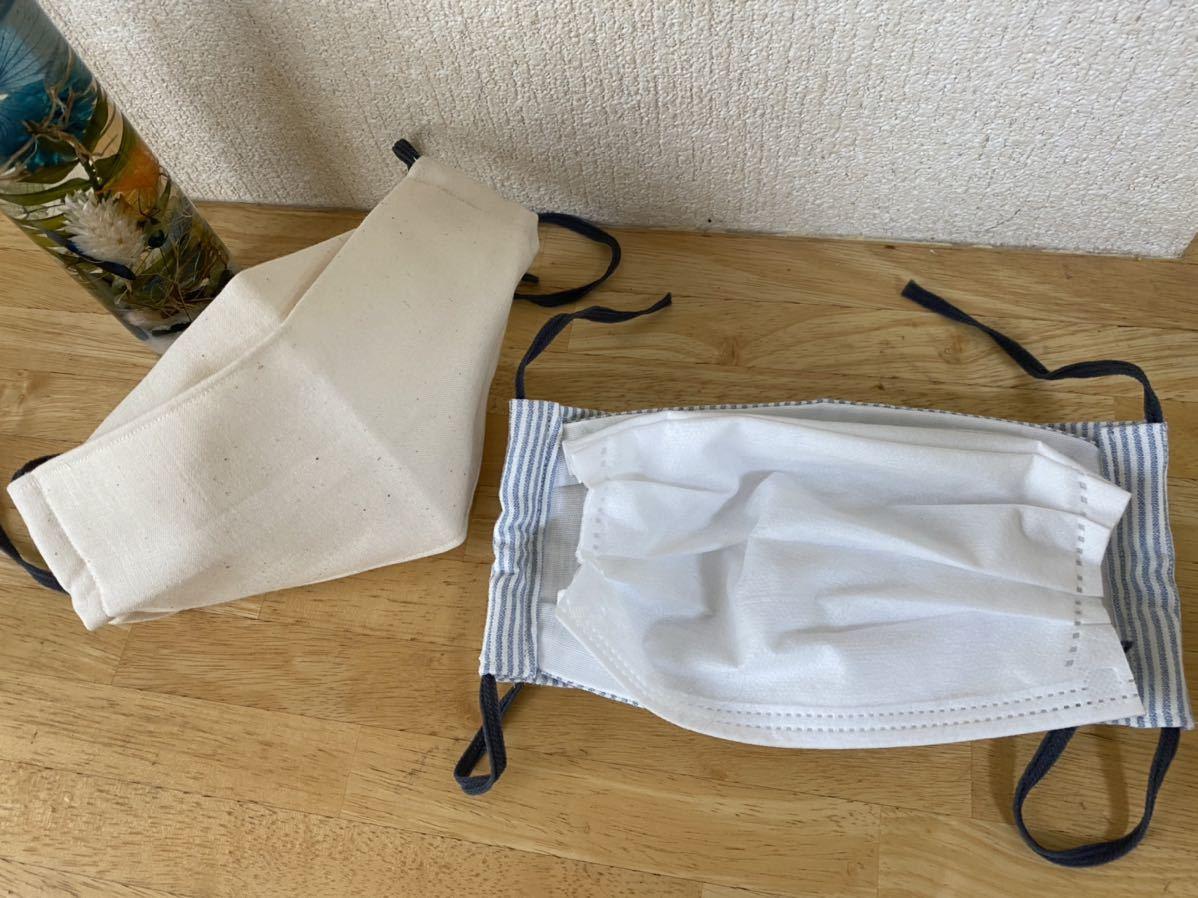 ハンドメイド 夏用薄手マスクカバー2点セット 西村大臣マスク 立体折り上げマスク ストライプ 生成ゴムはウーリースピンテープを使用_画像2