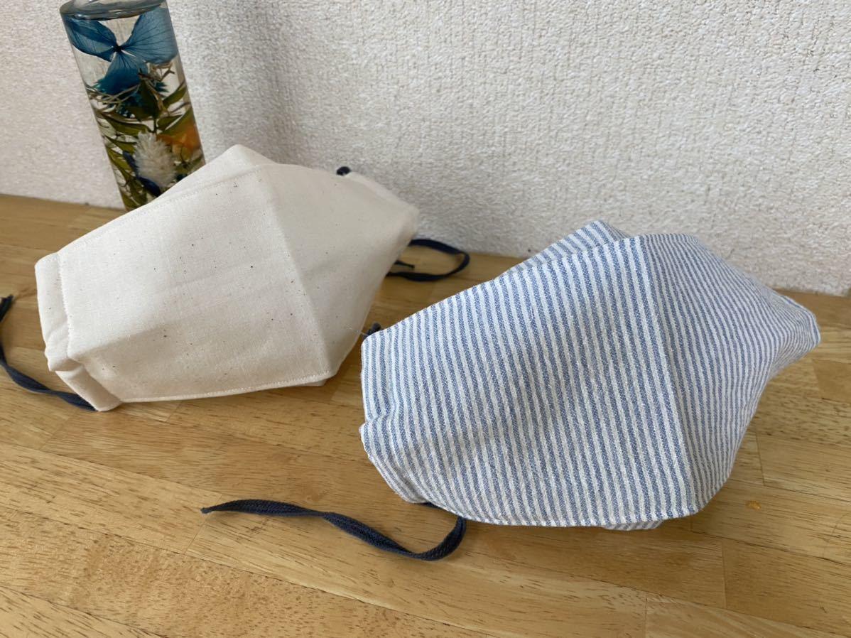 ハンドメイド 夏用薄手マスクカバー2点セット 西村大臣マスク 立体折り上げマスク ストライプ 生成ゴムはウーリースピンテープを使用_画像1