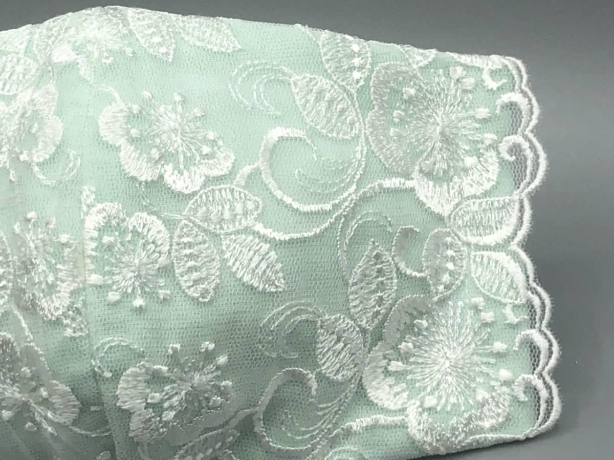 873 ミントグリーン ハンドメイド レース 刺繍 花柄 インナーマスク 手作り 立体 ガーゼ_画像3