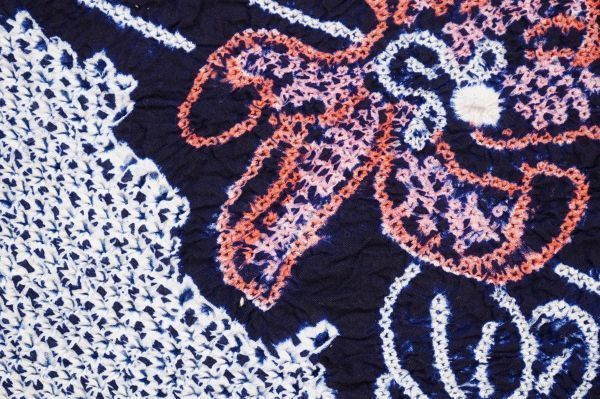 1035C1◆昔の反物◆有松絞り◆浴衣地◆花と蝶◆湯のし前◆未使用◆藍染木綿古布◆綿100%◆リメイク素材_画像7