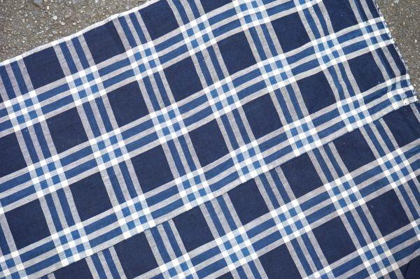 1435◆襤褸◆ボロ◆格子◆布団皮◆藍染木綿古布◆継ぎ当て◆アンティーク◆リメイク素材_画像9