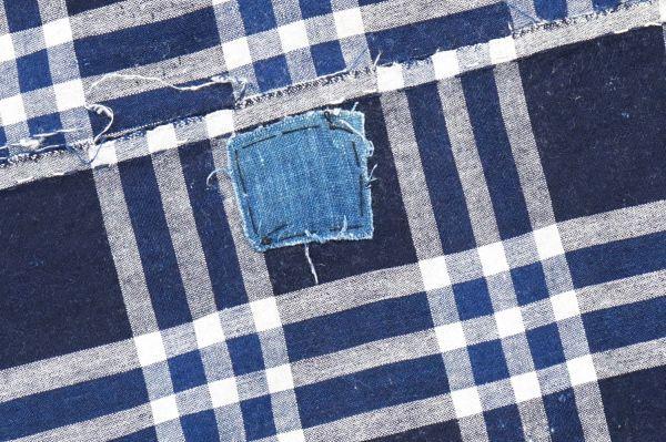 1435◆襤褸◆ボロ◆格子◆布団皮◆藍染木綿古布◆継ぎ当て◆アンティーク◆リメイク素材_画像5
