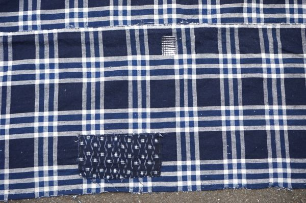 1435◆襤褸◆ボロ◆格子◆布団皮◆藍染木綿古布◆継ぎ当て◆アンティーク◆リメイク素材_画像2