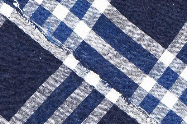 1435◆襤褸◆ボロ◆格子◆布団皮◆藍染木綿古布◆継ぎ当て◆アンティーク◆リメイク素材_画像6
