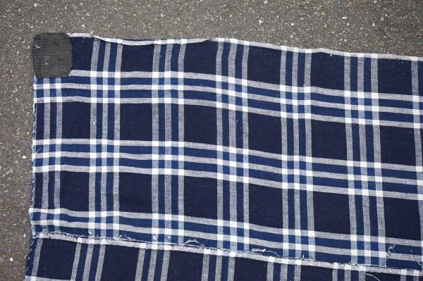 1435◆襤褸◆ボロ◆格子◆布団皮◆藍染木綿古布◆継ぎ当て◆アンティーク◆リメイク素材_画像3