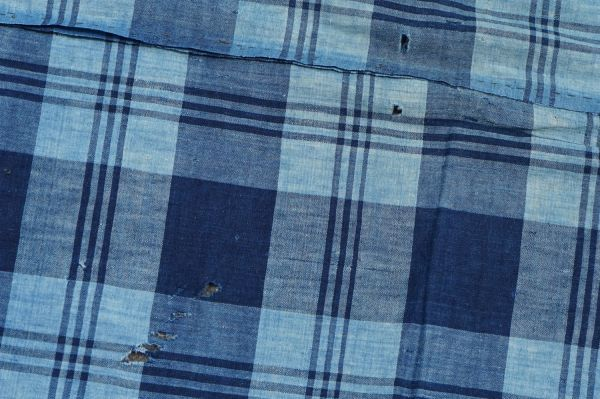 1436◆襤褸◆ボロ◆藍染木綿古布◆4幅◆格子◆継ぎ接ぎ◆継ぎ当て◆アンティーク◆リメイク素材◆_画像2