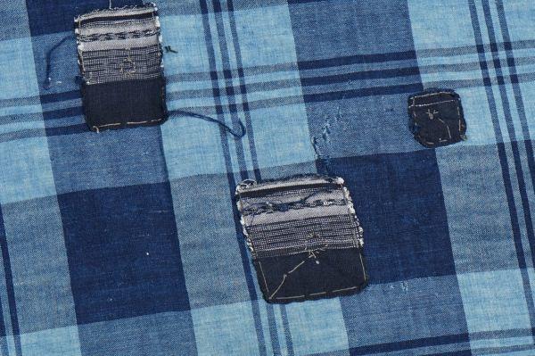 1436◆襤褸◆ボロ◆藍染木綿古布◆4幅◆格子◆継ぎ接ぎ◆継ぎ当て◆アンティーク◆リメイク素材◆_画像3