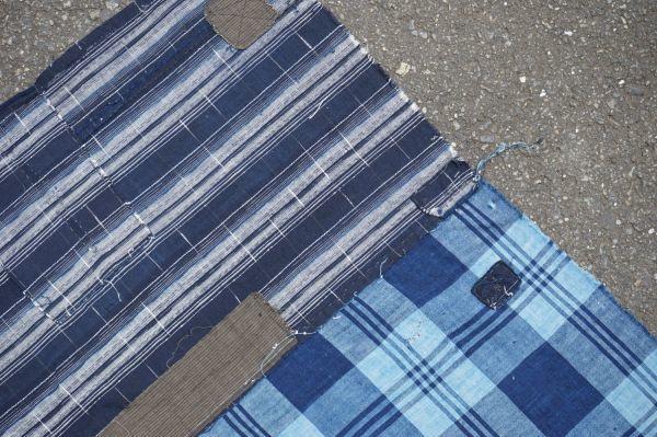 1436◆襤褸◆ボロ◆藍染木綿古布◆4幅◆格子◆継ぎ接ぎ◆継ぎ当て◆アンティーク◆リメイク素材◆_画像6