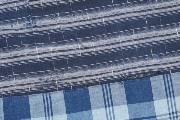 1436◆襤褸◆ボロ◆藍染木綿古布◆4幅◆格子◆継ぎ接ぎ◆継ぎ当て◆アンティーク◆リメイク素材◆_画像9