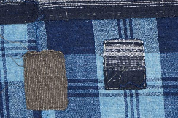 1436◆襤褸◆ボロ◆藍染木綿古布◆4幅◆格子◆継ぎ接ぎ◆継ぎ当て◆アンティーク◆リメイク素材◆_画像5