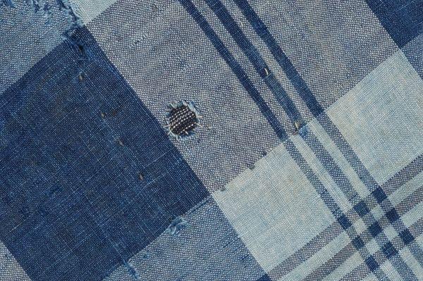 1436◆襤褸◆ボロ◆藍染木綿古布◆4幅◆格子◆継ぎ接ぎ◆継ぎ当て◆アンティーク◆リメイク素材◆_画像10